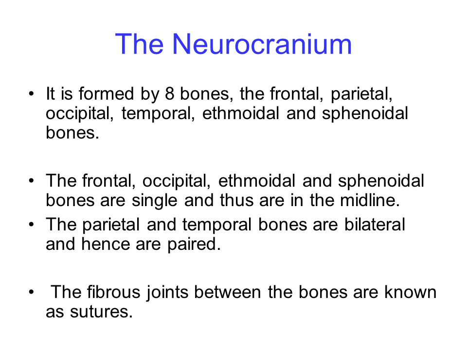 The Neurocranium It is formed by 8 bones, the frontal, parietal, occipital, temporal, ethmoidal and sphenoidal bones.
