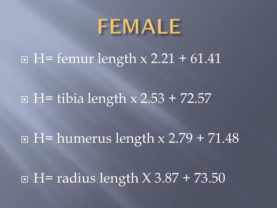 FEMALE H= femur length x 2.21 + 61.41 H= tibia length x 2.53 + 72.57