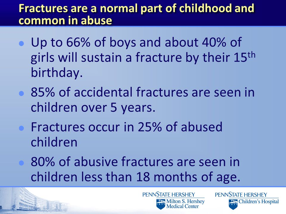 Fractures are a normal part of childhood and common in abuse