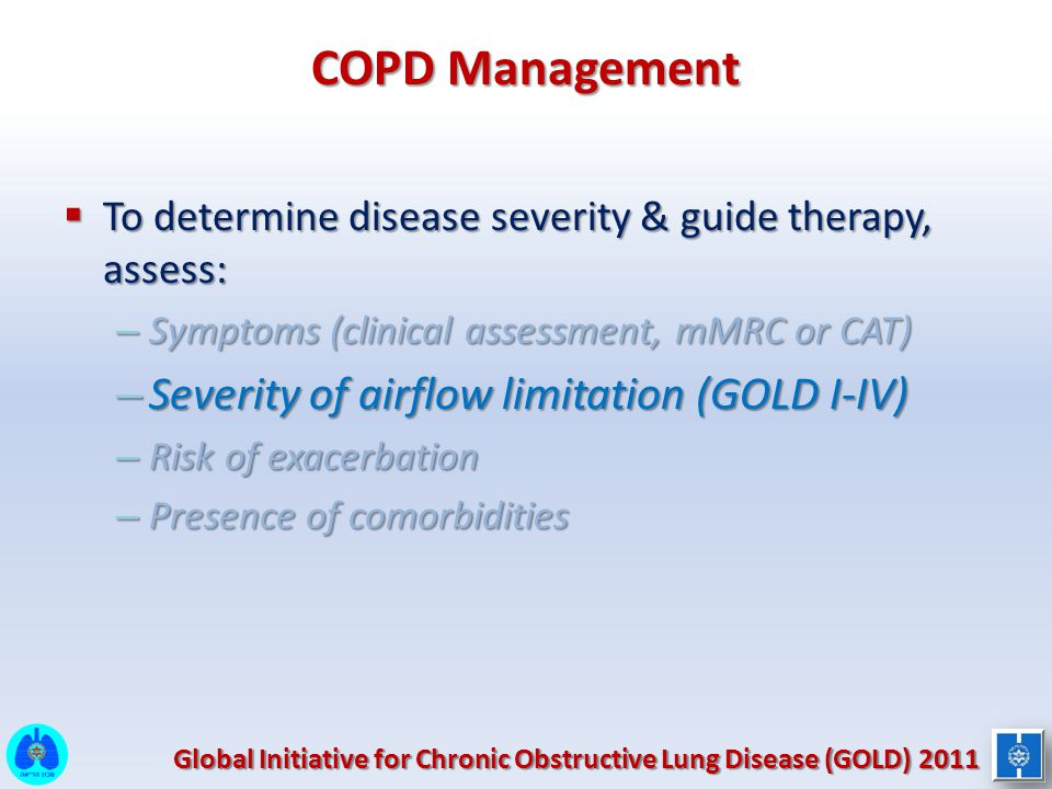 COPD Management Severity of airflow limitation (GOLD I-IV)