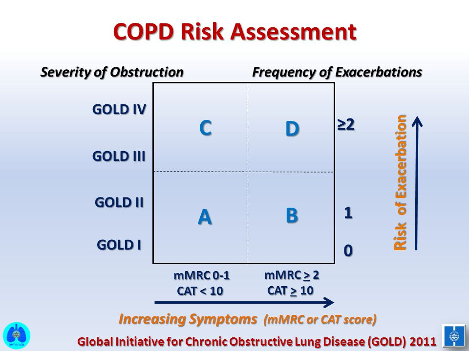 COPD Risk Assessment C D B A ≥2 Risk of Exacerbation 1 GOLD IV