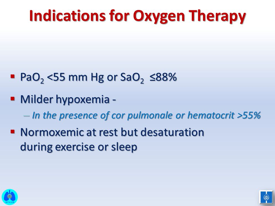 Indications for Oxygen Therapy