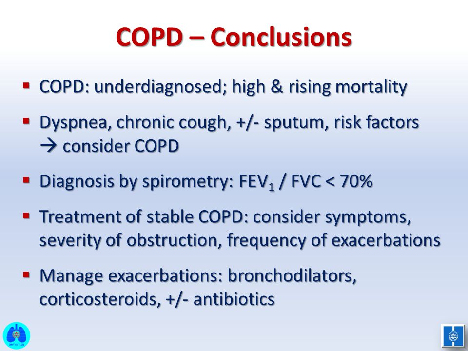 COPD – Conclusions COPD: underdiagnosed; high & rising mortality