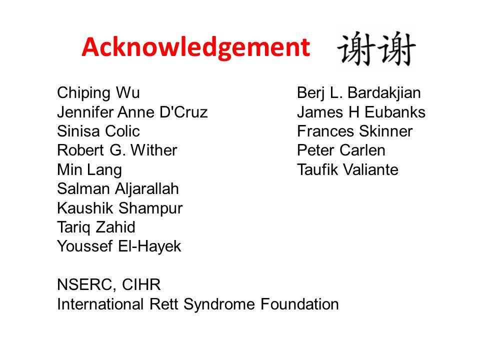 Acknowledgement Chiping Wu Berj L. Bardakjian