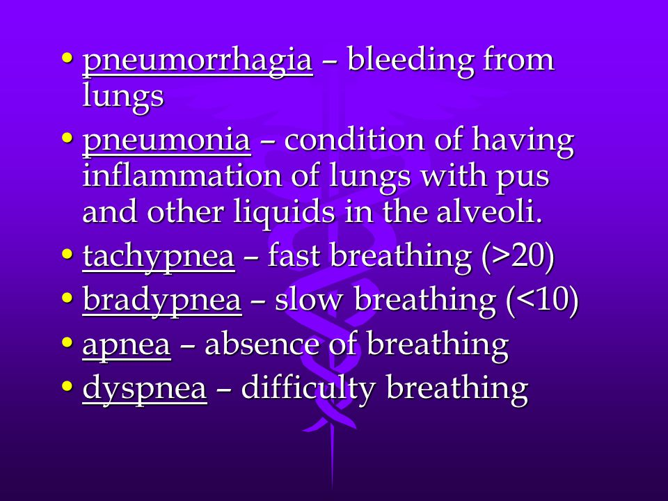 pneumorrhagia – bleeding from lungs