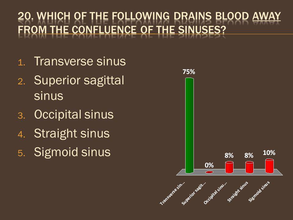 Superior sagittal sinus Occipital sinus Straight sinus Sigmoid sinus