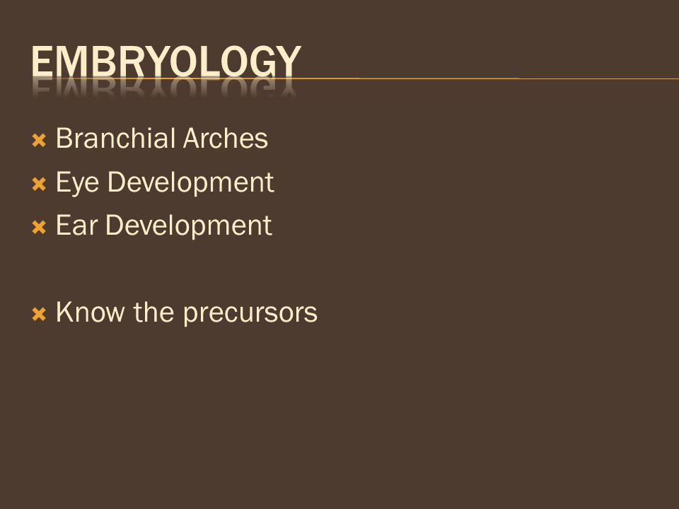 Embryology Branchial Arches Eye Development Ear Development
