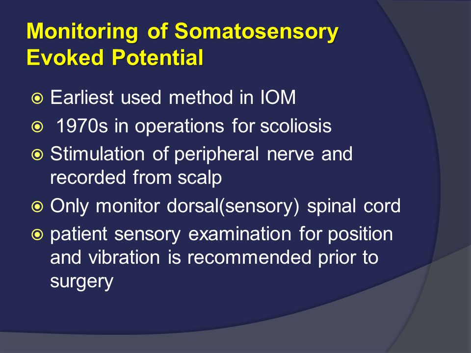Monitoring of Somatosensory Evoked Potential