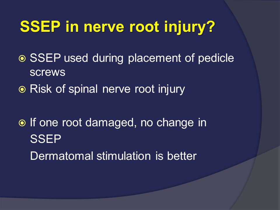 SSEP in nerve root injury