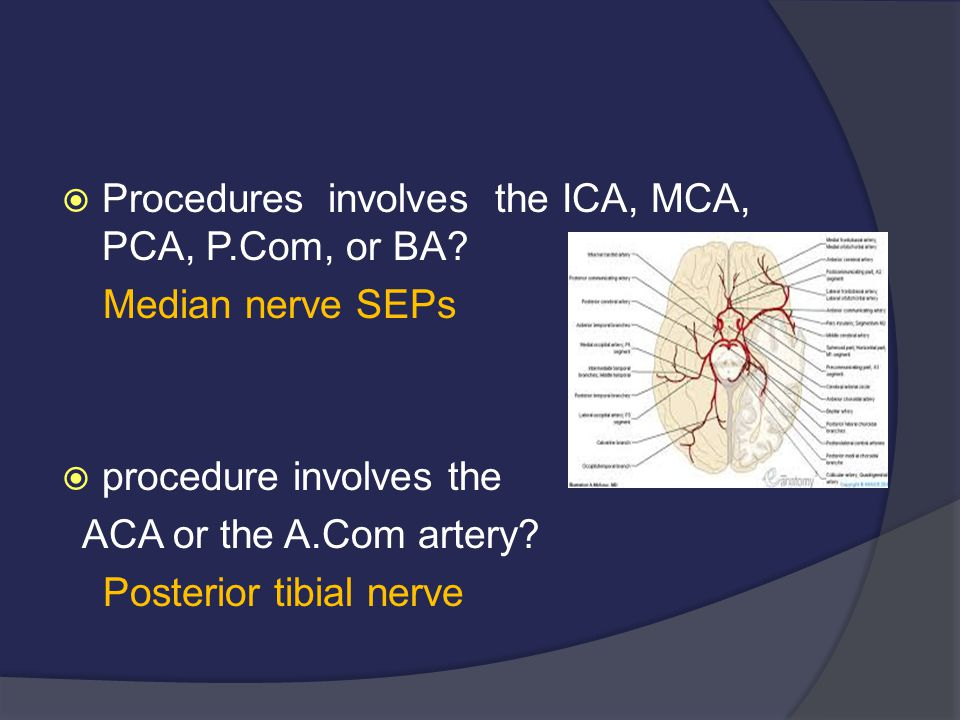 Procedures involves the ICA, MCA, PCA, P.Com, or BA