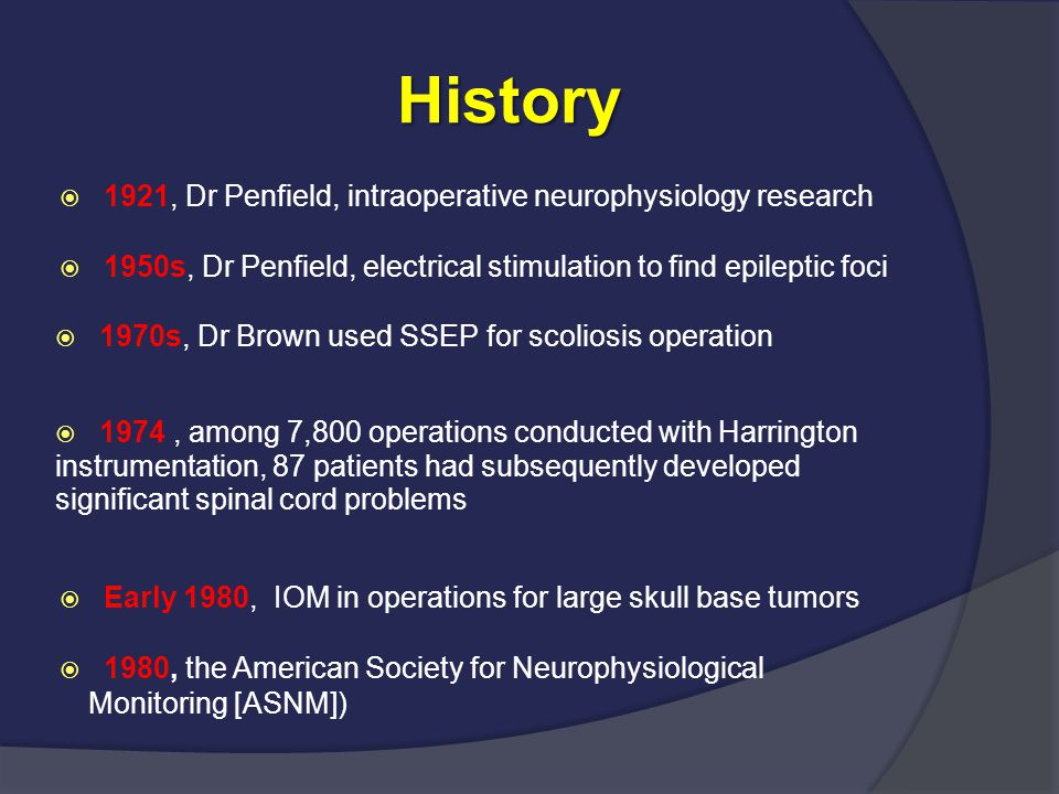 History 1921, Dr Penfield, intraoperative neurophysiology research
