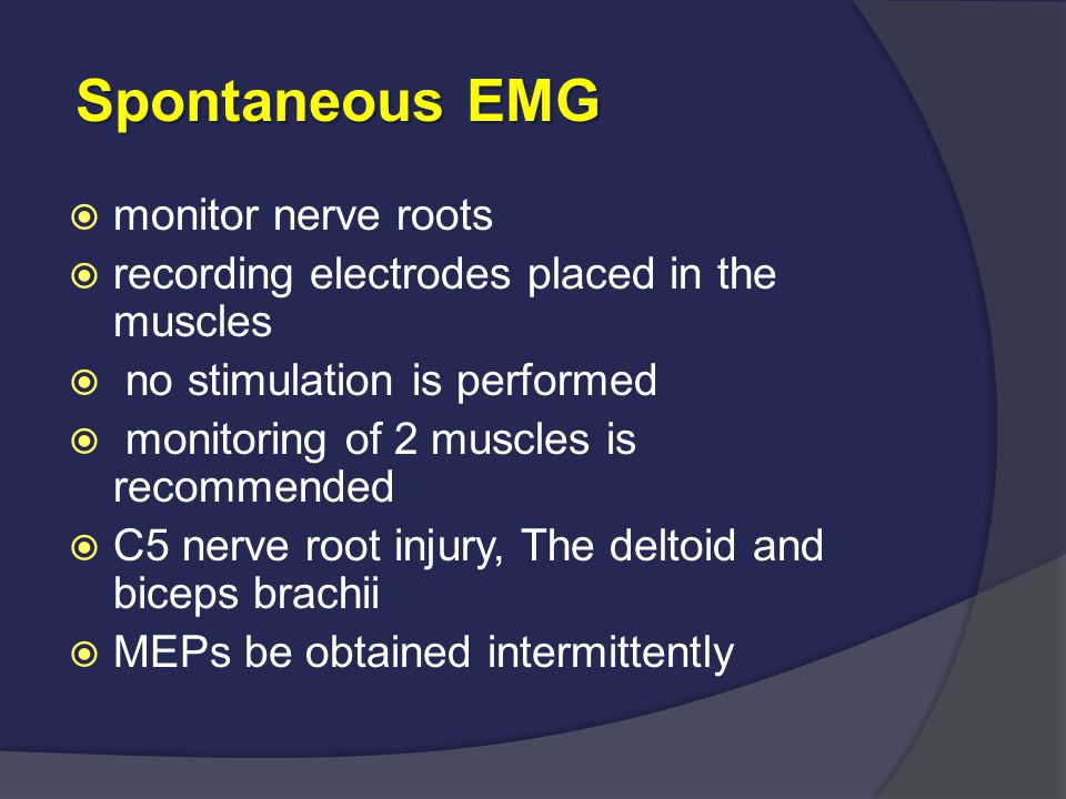 Spontaneous EMG monitor nerve roots