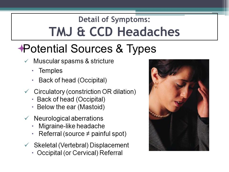 Detail of Symptoms: TMJ & CCD Headaches