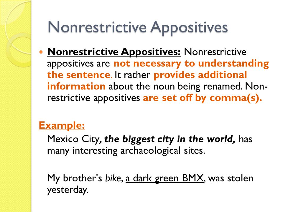 Nonrestrictive Appositives