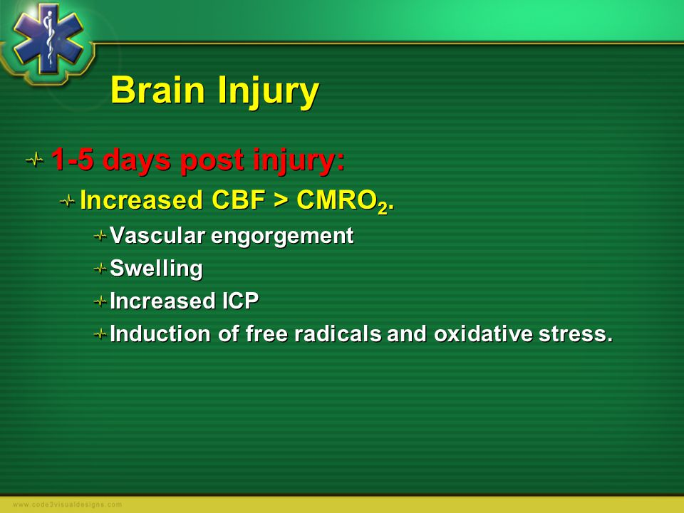 Brain Injury 1-5 days post injury: Increased CBF > CMRO2.