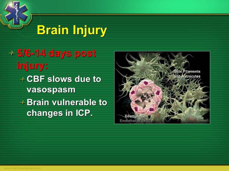 Brain Injury 5/6-14 days post injury: CBF slows due to vasospasm
