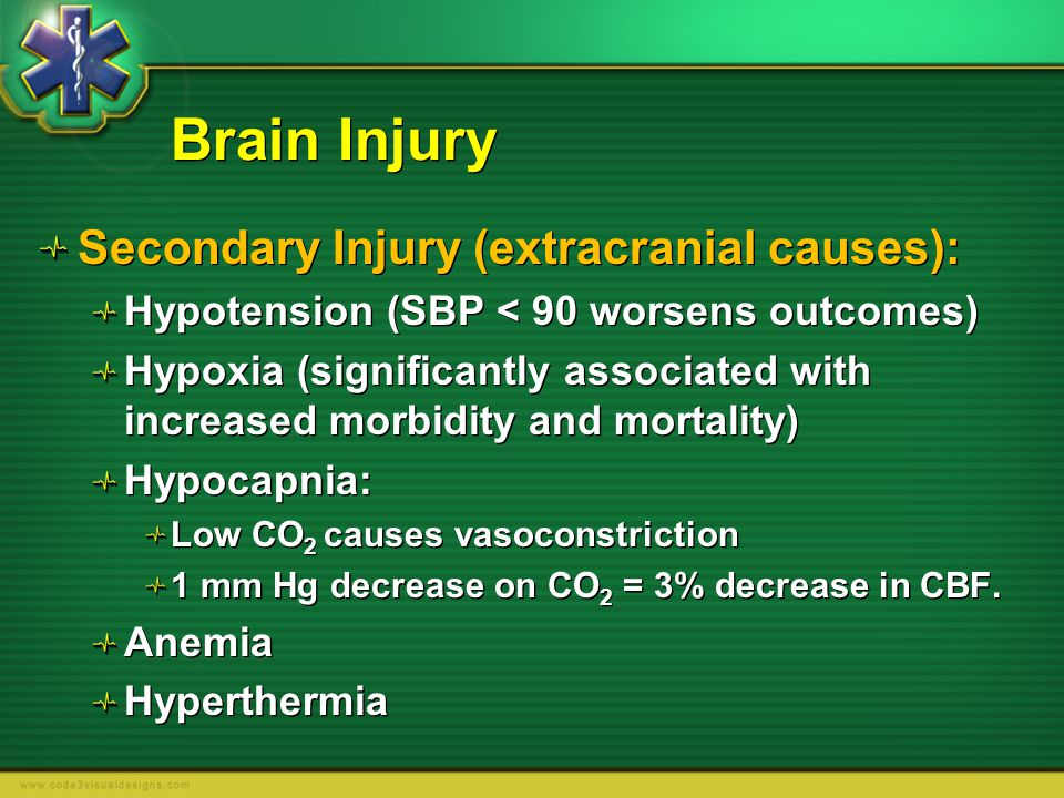 Brain Injury Secondary Injury (extracranial causes):