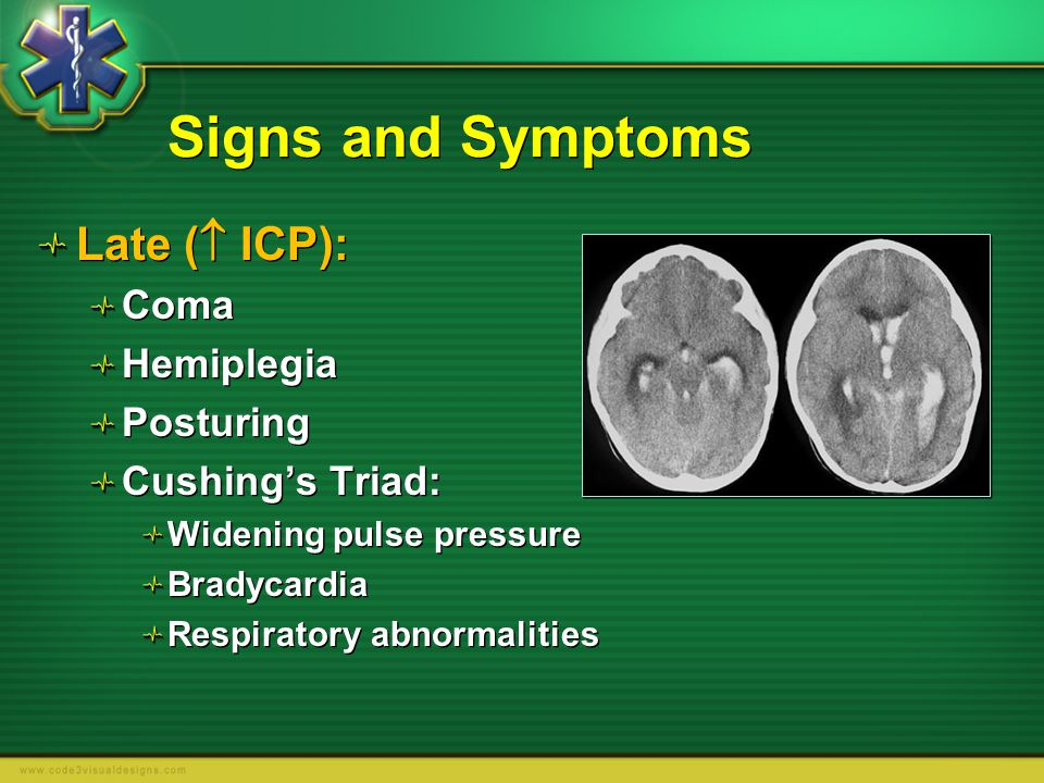 Signs and Symptoms Late ( ICP): Coma Hemiplegia Posturing