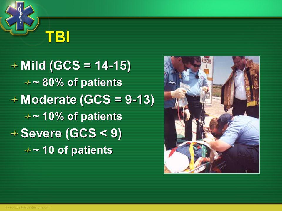 TBI Mild (GCS = 14-15) Moderate (GCS = 9-13) Severe (GCS < 9)