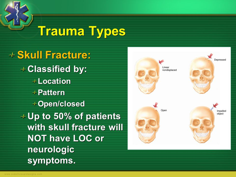 Trauma Types Skull Fracture: Classified by: