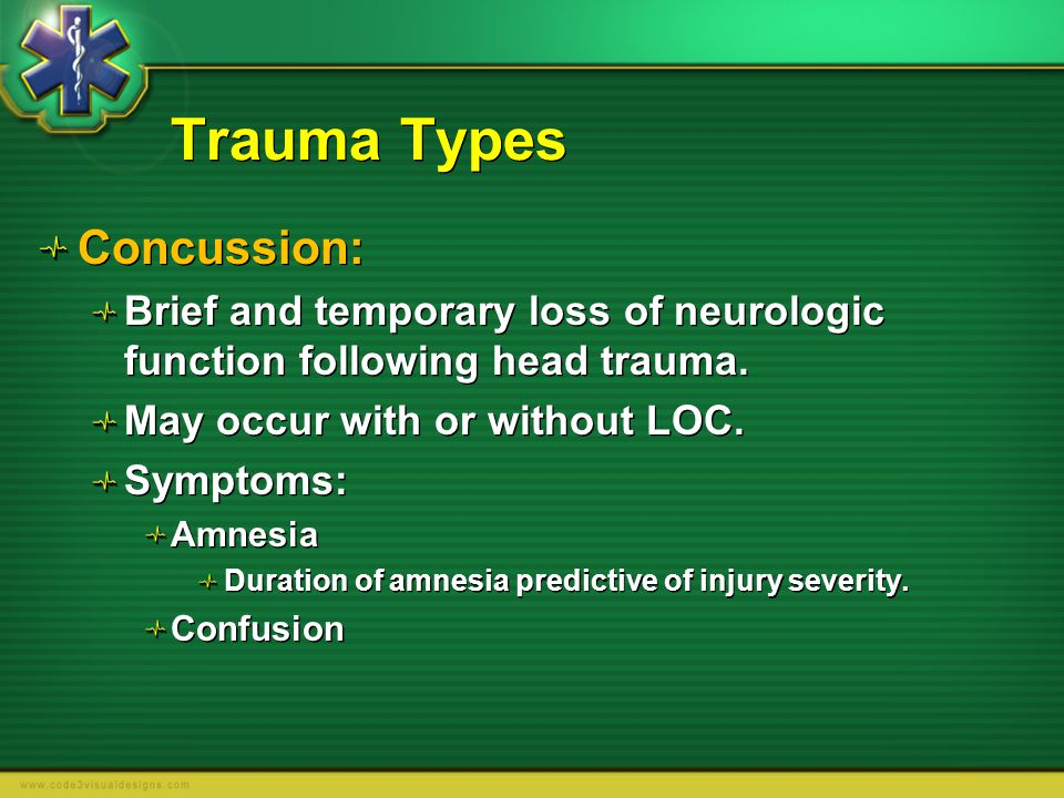 Trauma Types Concussion: