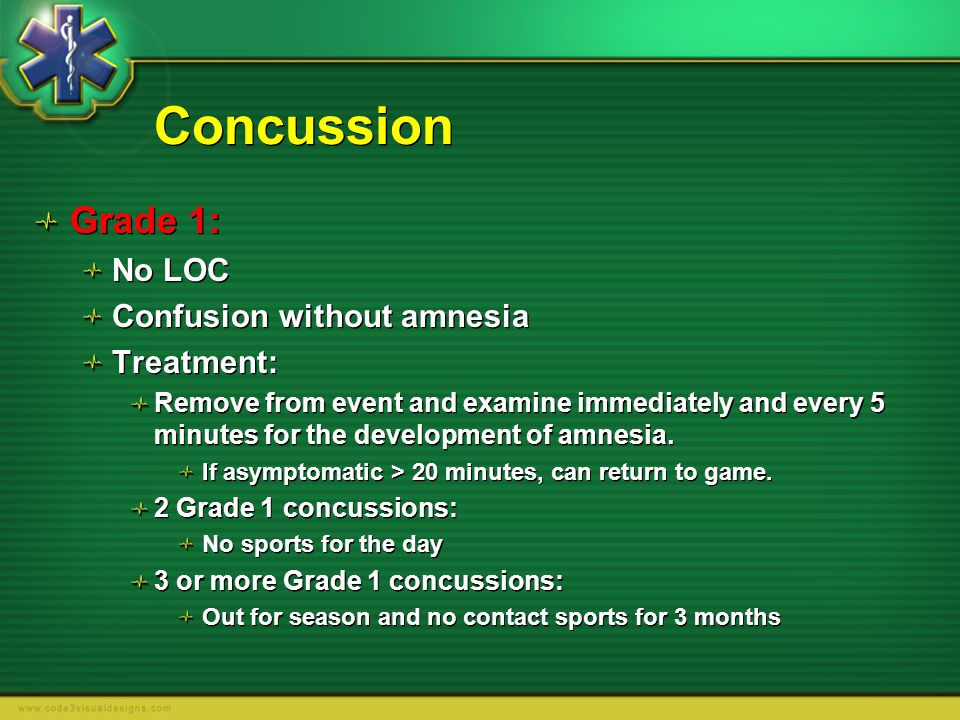 Concussion Grade 1: No LOC Confusion without amnesia Treatment: