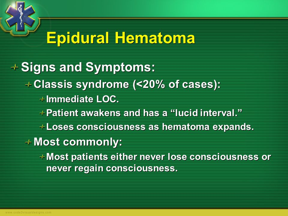 Epidural Hematoma Signs and Symptoms: