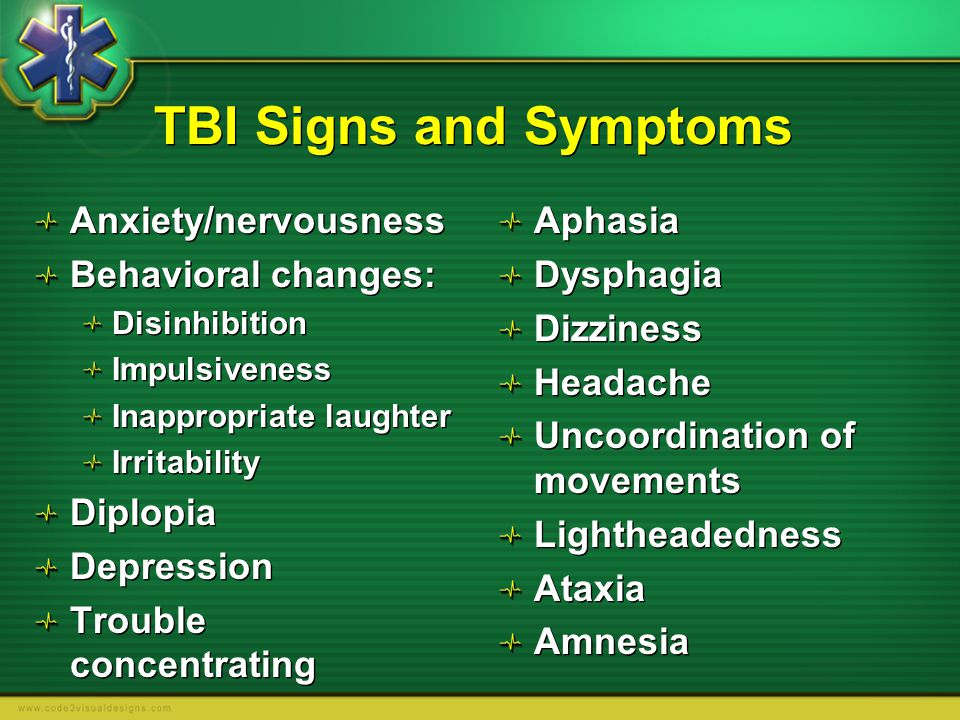 TBI Signs and Symptoms Anxiety/nervousness Behavioral changes: