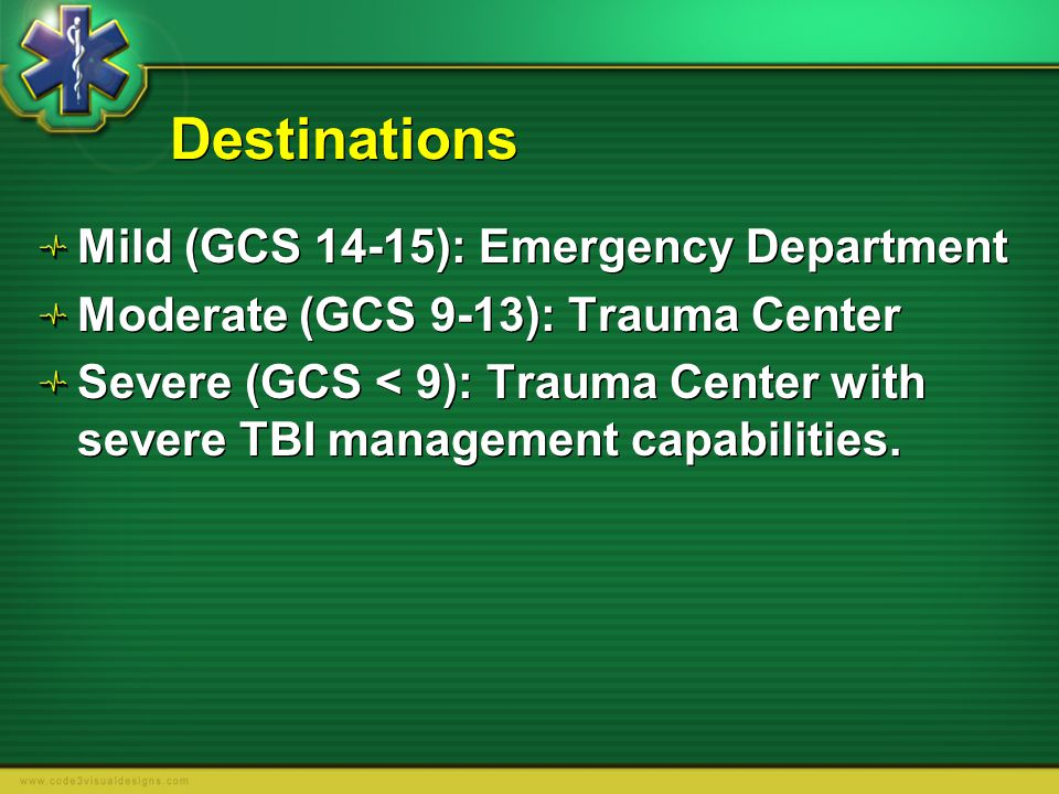 Destinations Mild (GCS 14-15): Emergency Department