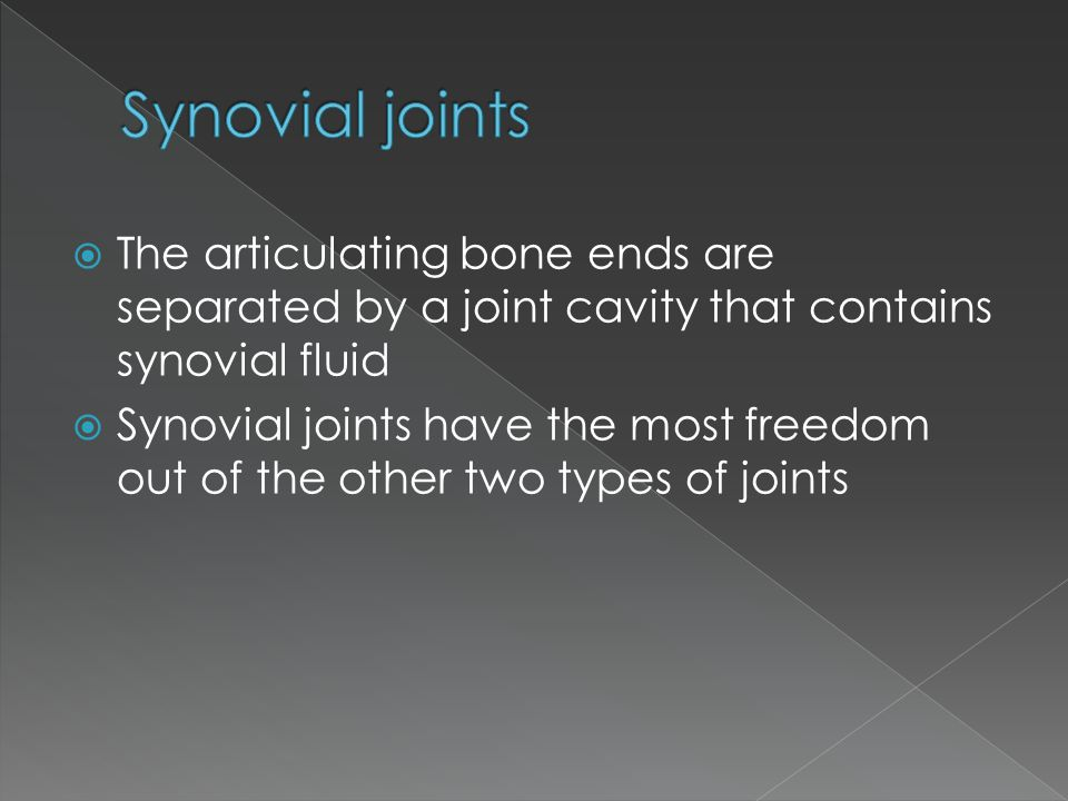 Synovial joints The articulating bone ends are separated by a joint cavity that contains synovial fluid.