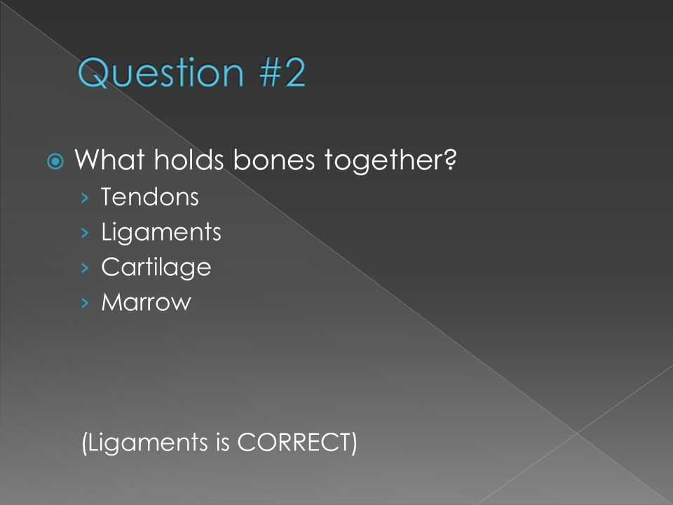Question #2 What holds bones together Tendons Ligaments Cartilage