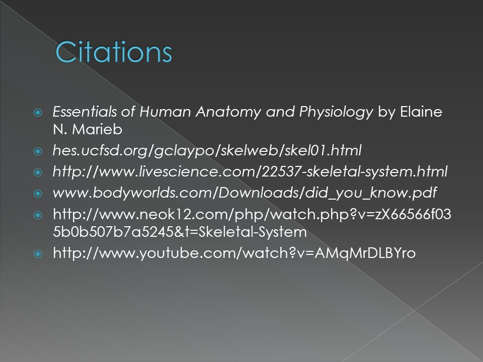 Citations Essentials of Human Anatomy and Physiology by Elaine N. Marieb. hes.ucfsd.org/gclaypo/skelweb/skel01.html.
