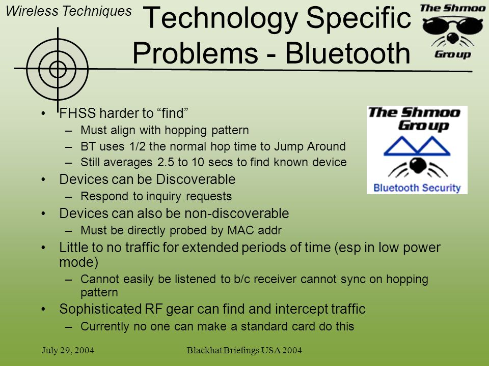 Technology Specific Problems - Bluetooth
