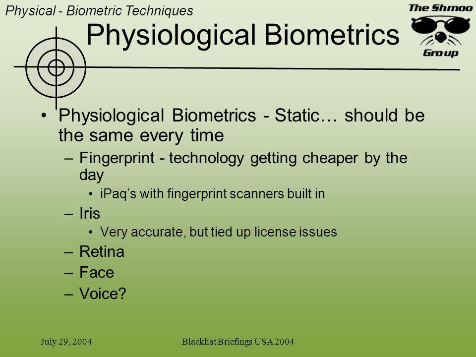 Physiological Biometrics