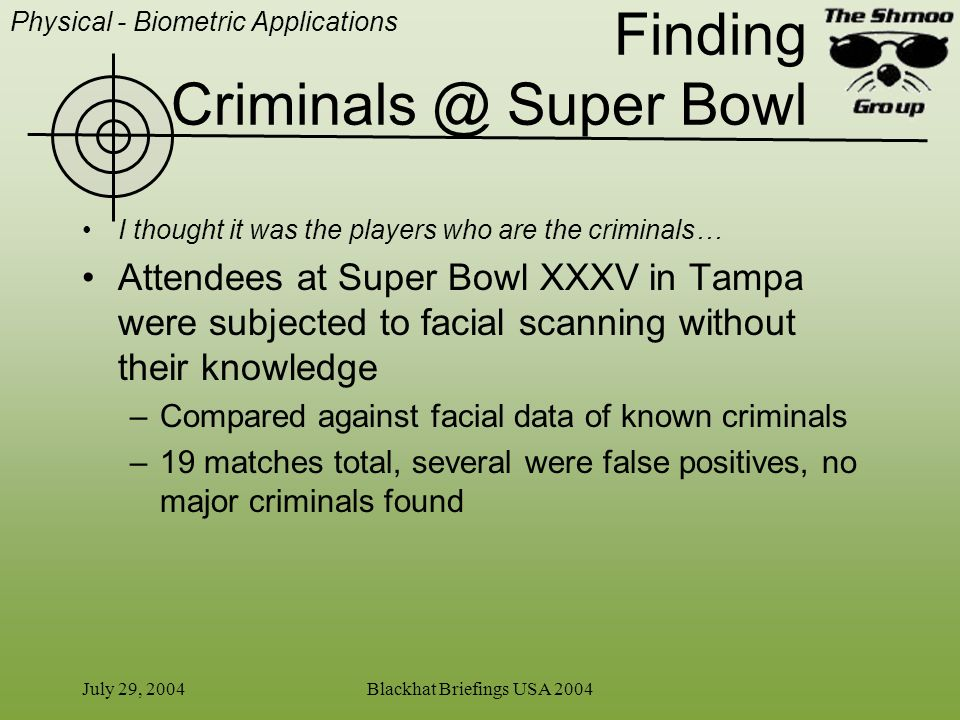 Finding Criminals @ Super Bowl