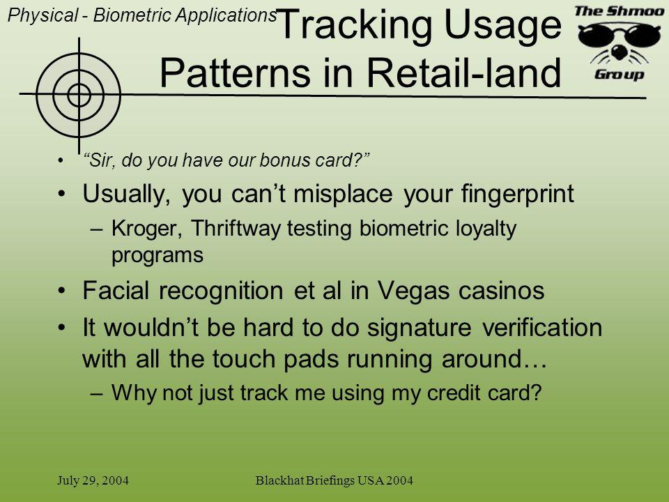 Tracking Usage Patterns in Retail-land