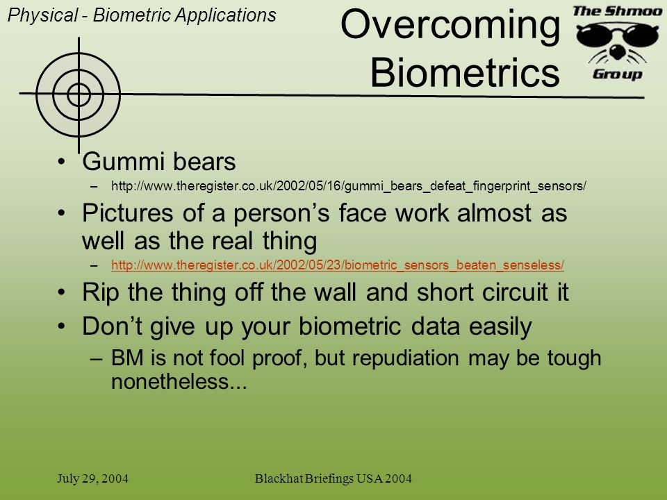 Overcoming Biometrics