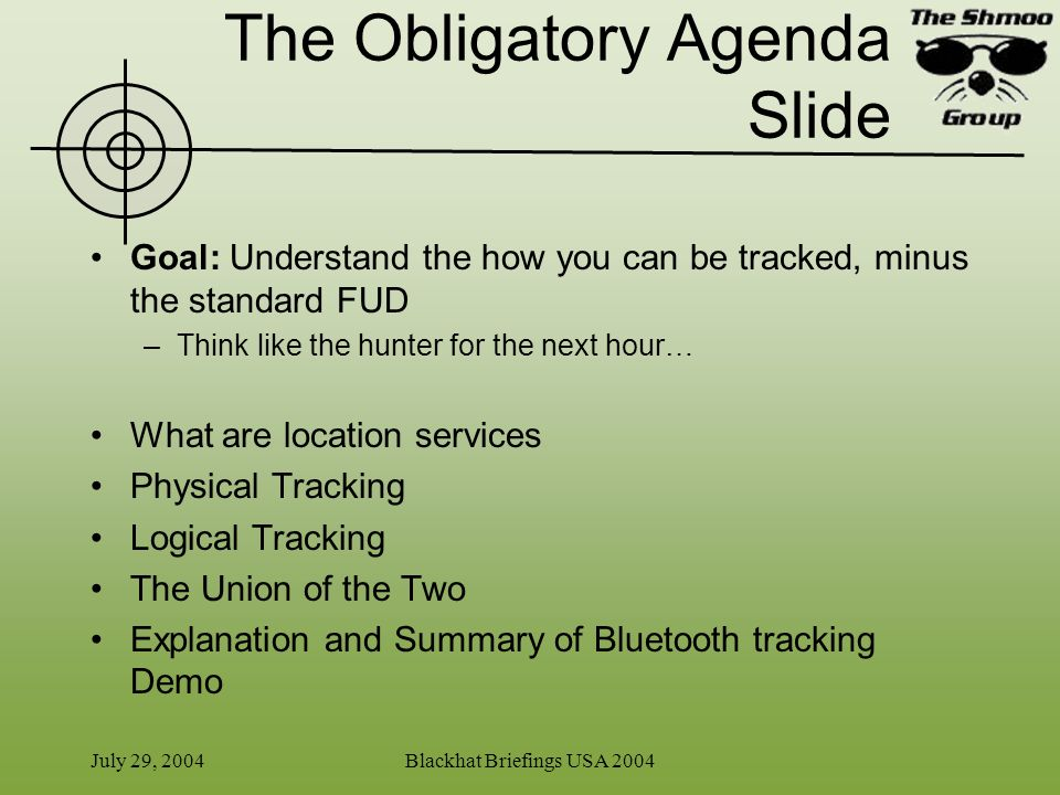 The Obligatory Agenda Slide
