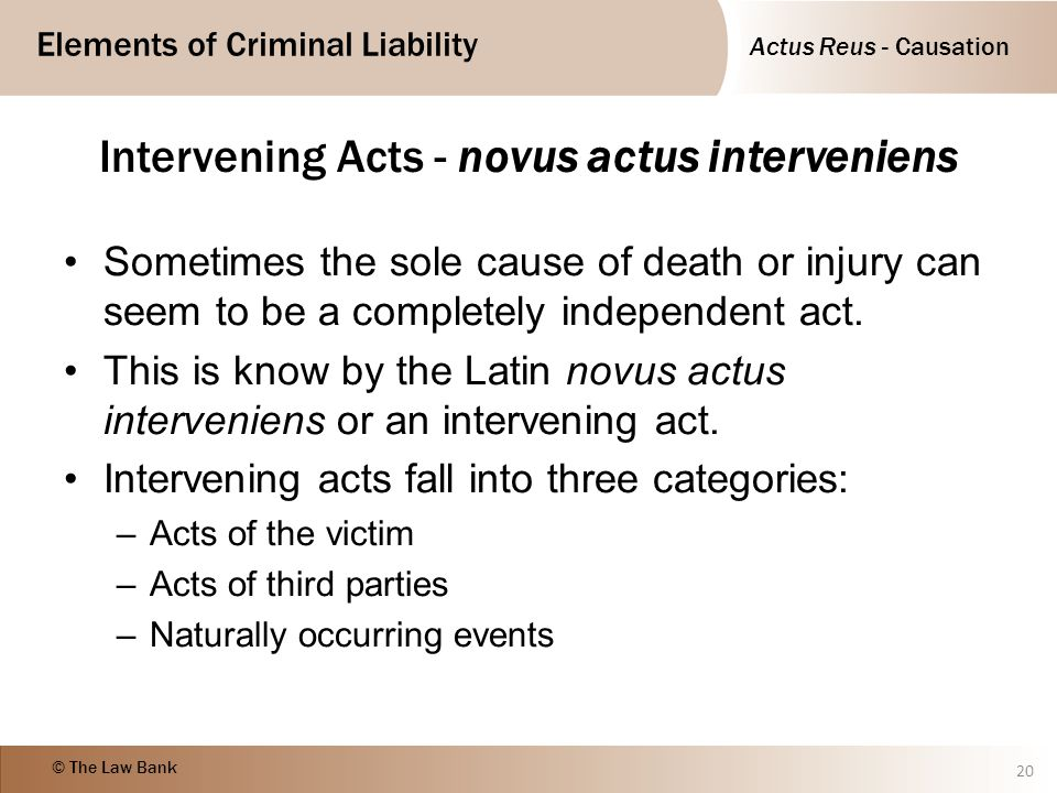 Intervening Acts - novus actus interveniens