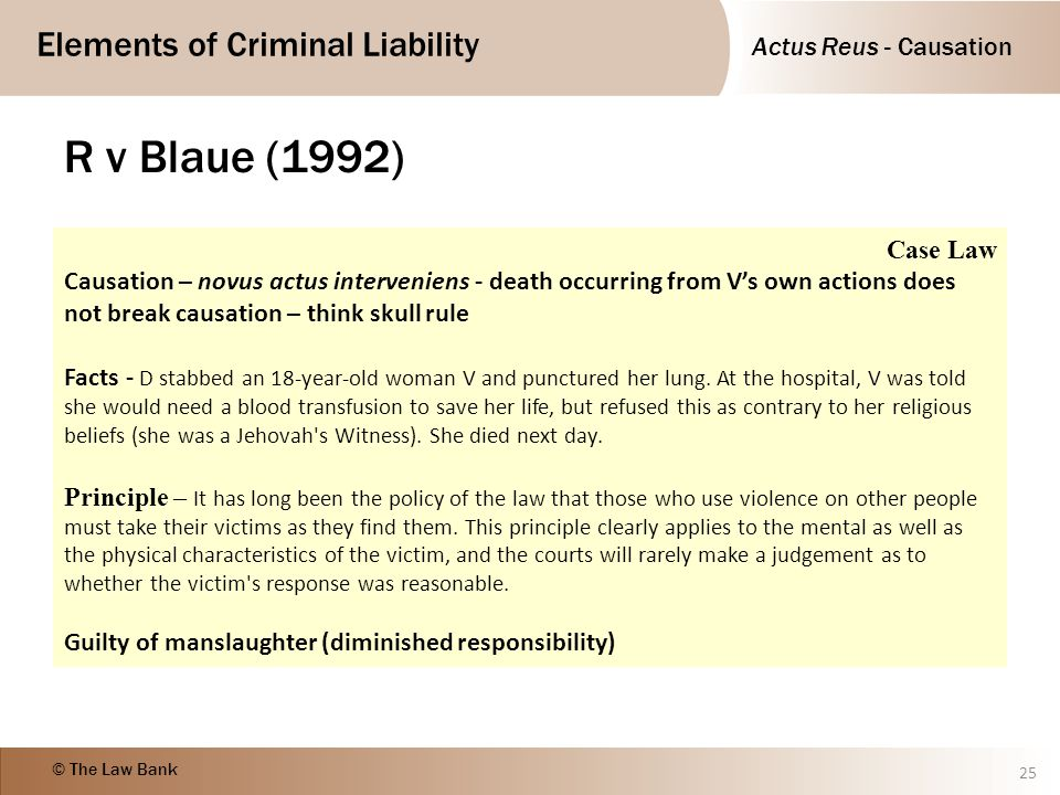 R v Blaue (1992) Case Law. Causation – novus actus interveniens - death occurring from V's own actions does not break causation – think skull rule.