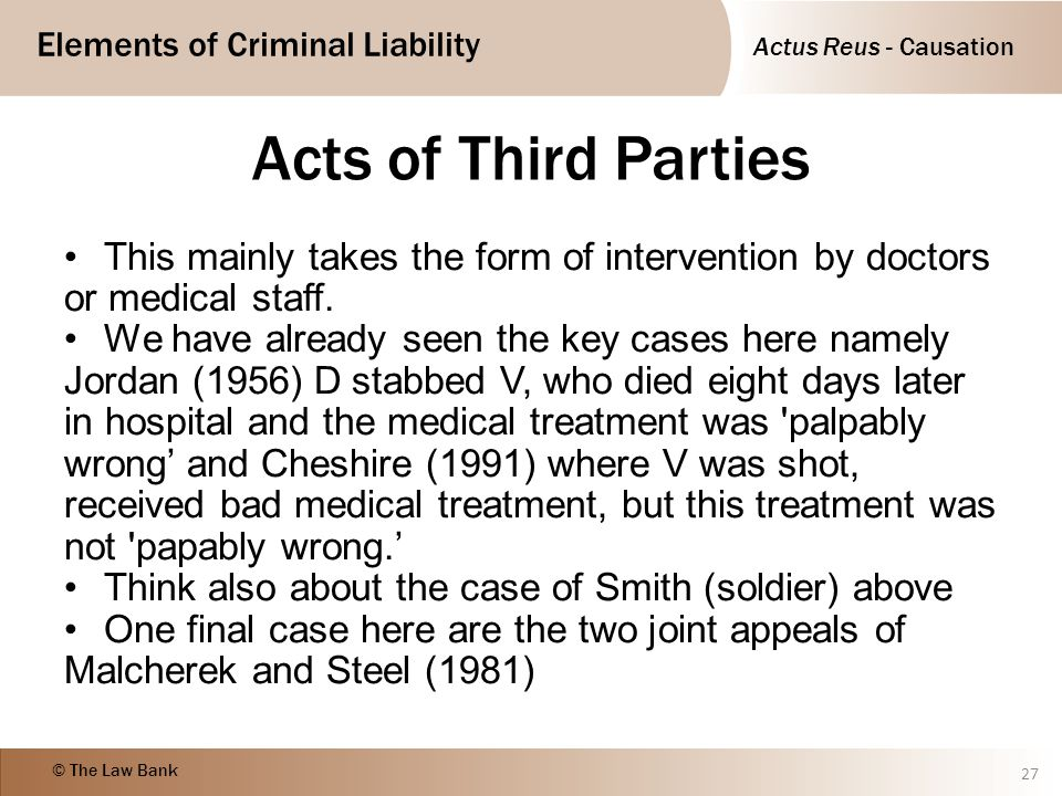 Acts of Third Parties This mainly takes the form of intervention by doctors or medical staff.