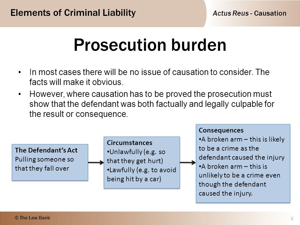 Prosecution burden In most cases there will be no issue of causation to consider. The facts will make it obvious.