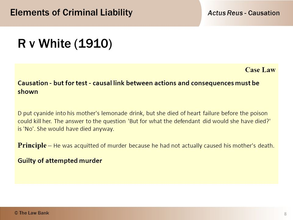 R v White (1910) Case Law. Causation - but for test - causal link between actions and consequences must be shown.