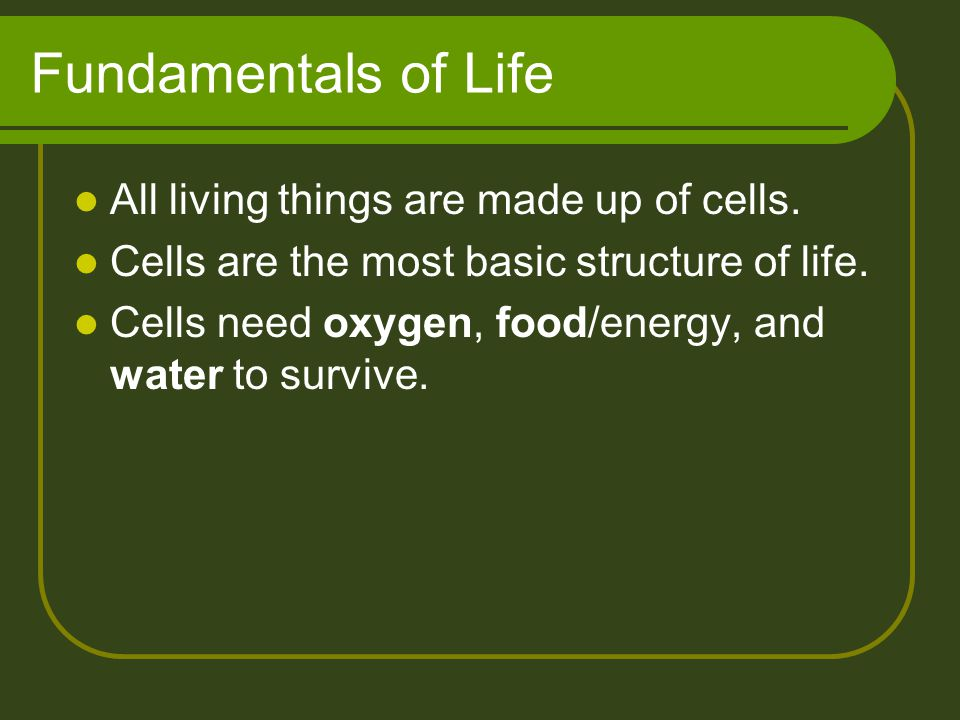Fundamentals of Life All living things are made up of cells.