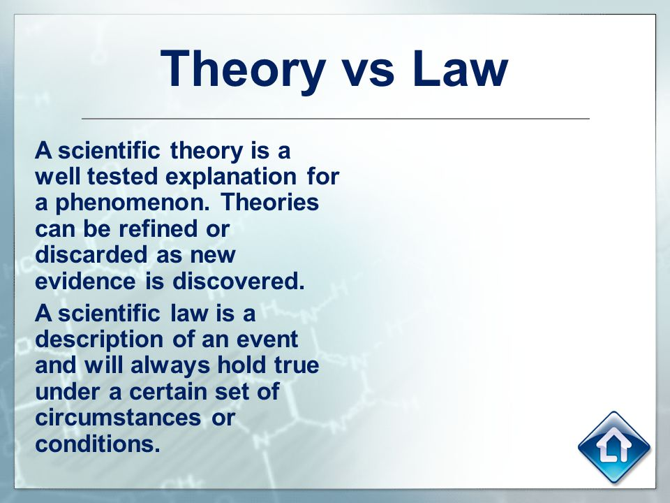 Theory vs Law