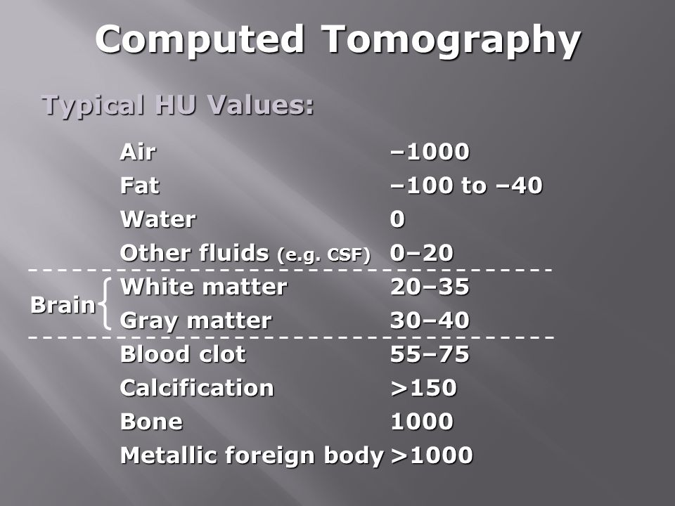 Computed Tomography Typical HU Values: Air –1000 Fat –100 to –40