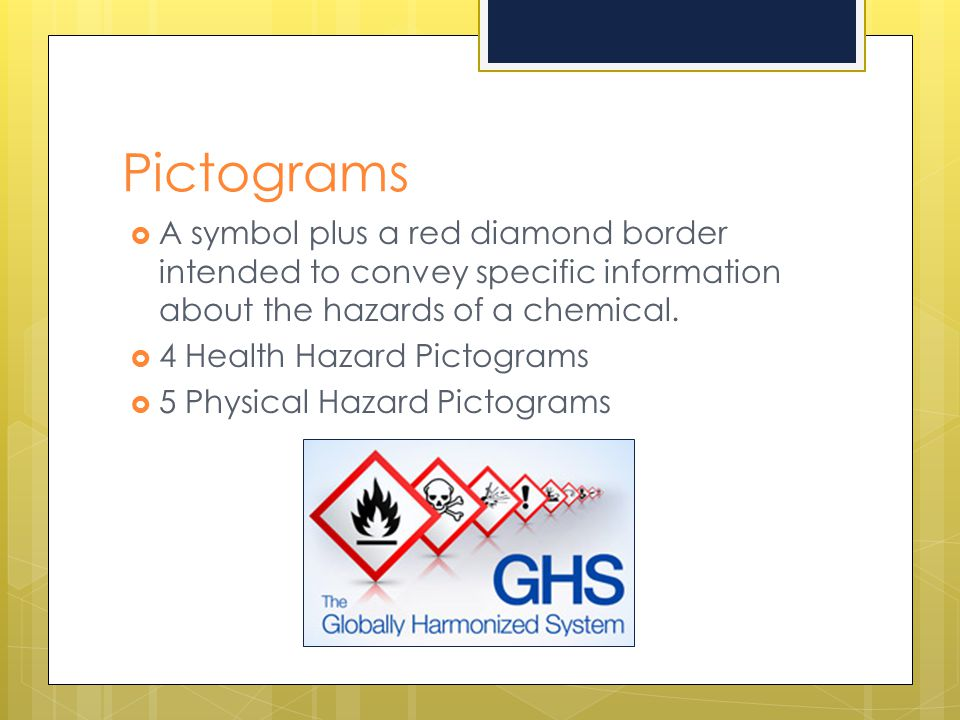 Pictograms A symbol plus a red diamond border intended to convey specific information about the hazards of a chemical.