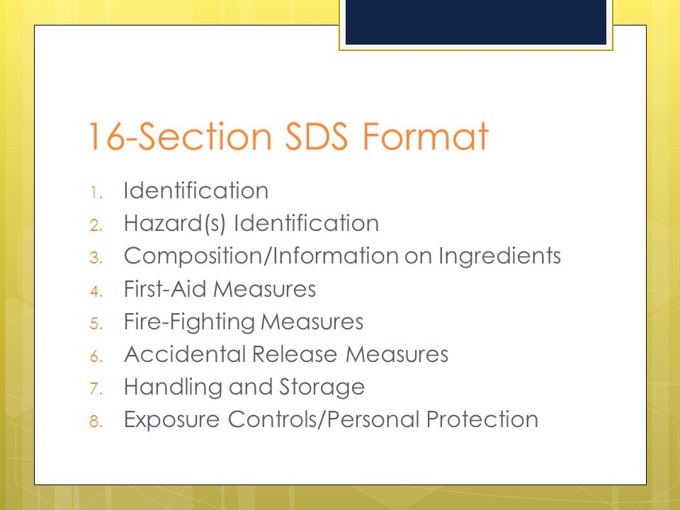 16-Section SDS Format Identification Hazard(s) Identification