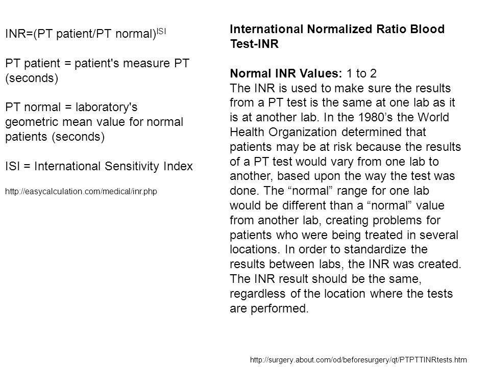 International Normalized Ratio Blood Test-INR