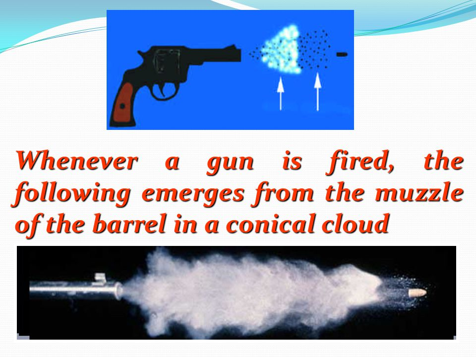 Whenever a gun is fired, the following emerges from the muzzle of the barrel in a conical cloud
